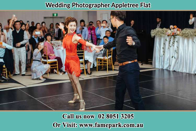 Photo of the Bride and the Groom dancing on the dance floor Appletree Flat NSW 2330