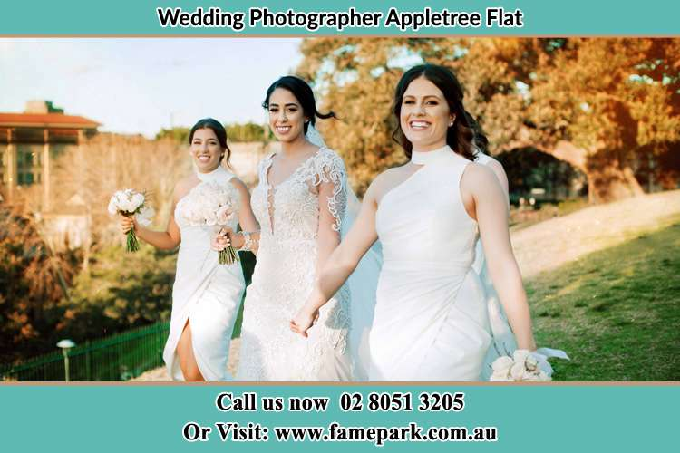 Photo of the Bride and the bridesmaids walking Appletree Flat NSW 2330