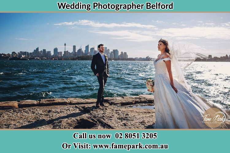 Photo of the Groom and the Bride at the sea front Belford NSW 2335