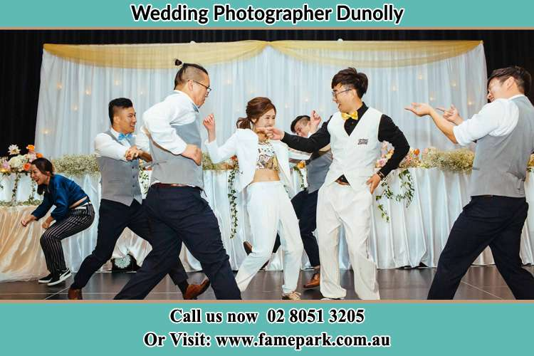 Photo of the Groom and the Bride dancing with the groomsmen Dunolly NSW 2330