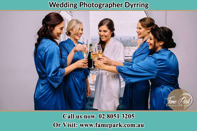 Photo of the Bride and the bridesmaids having wine Dyrring NSW 2330