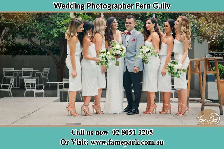 Photo of the Bride and the Groom with the bridesmaids Fern Gully NSW 2330