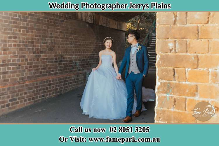Photo of the Bride and the Groom walking Jerrys Plains NSW 2330
