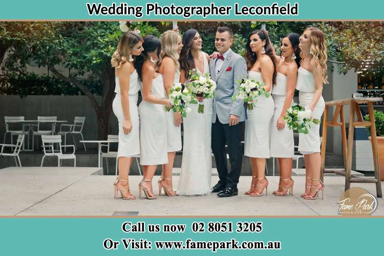 Photo of the Bride and the Groom with the bridesmaids Leconfield NSW 2335