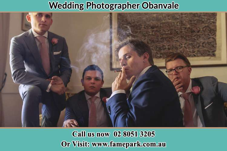 Photo of the Groom and the groomsmen relaxing Obanvale NSW 2330