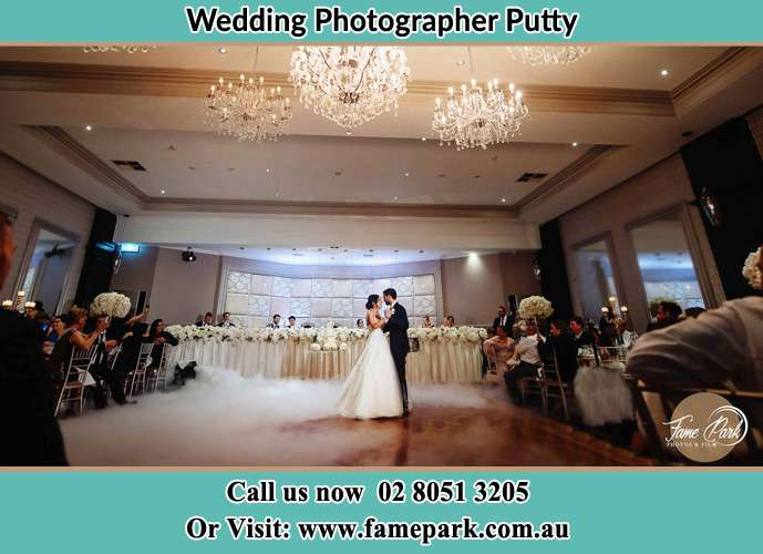 Photo of the Bride and the Groom dancing on the dance floor Putty NSW 2330