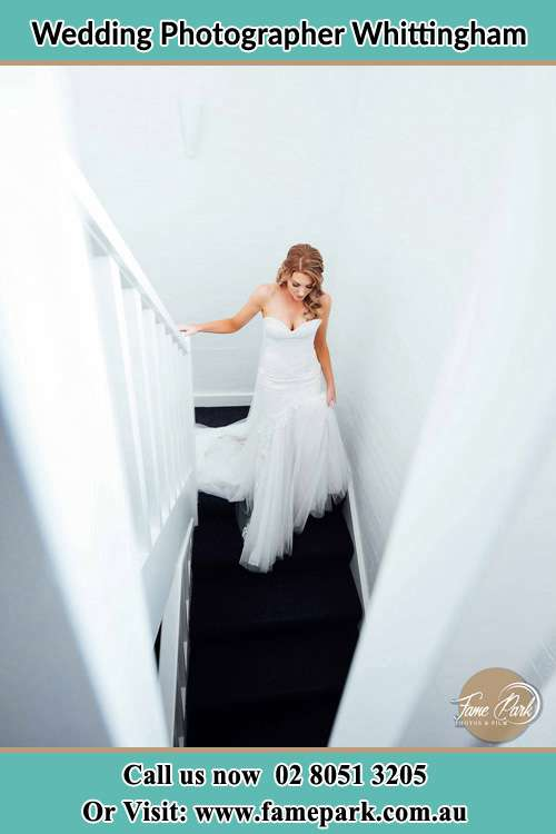 Photo of the Bride going down the stair Whittingham NSW 2330