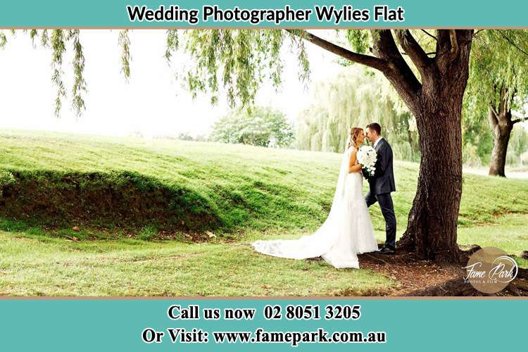 Photo of the Bride and the Groom kissing under the tree Wylies Flat NSW 2330